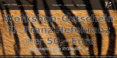 Personalisierter Workshop-Gutschein im Wert von 50,- Euro