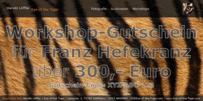 Personalisierter Workshop-Gutschein im Wert von 300,- Euro