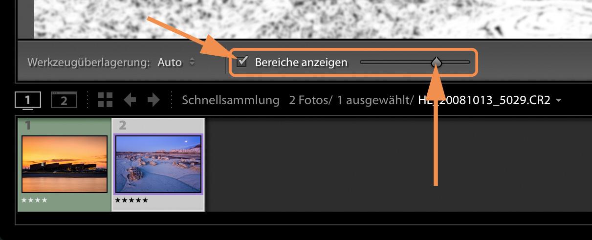 """LTM001 Bereiche anzeigen 1 Toolbar - Lightroom-Tiger-Tipp #6: """"Flecken-Spürhund"""""""